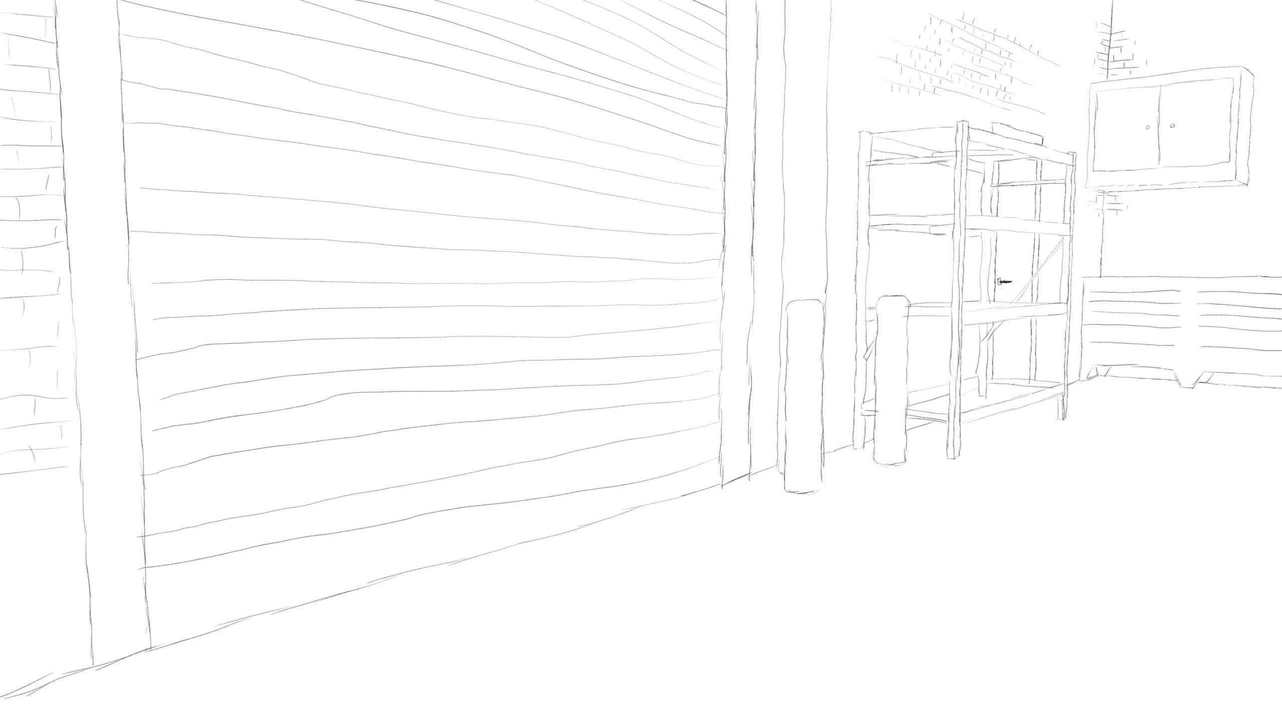 Pitney Bowes-RumbleOn concept art - wide-view drawing of garage door