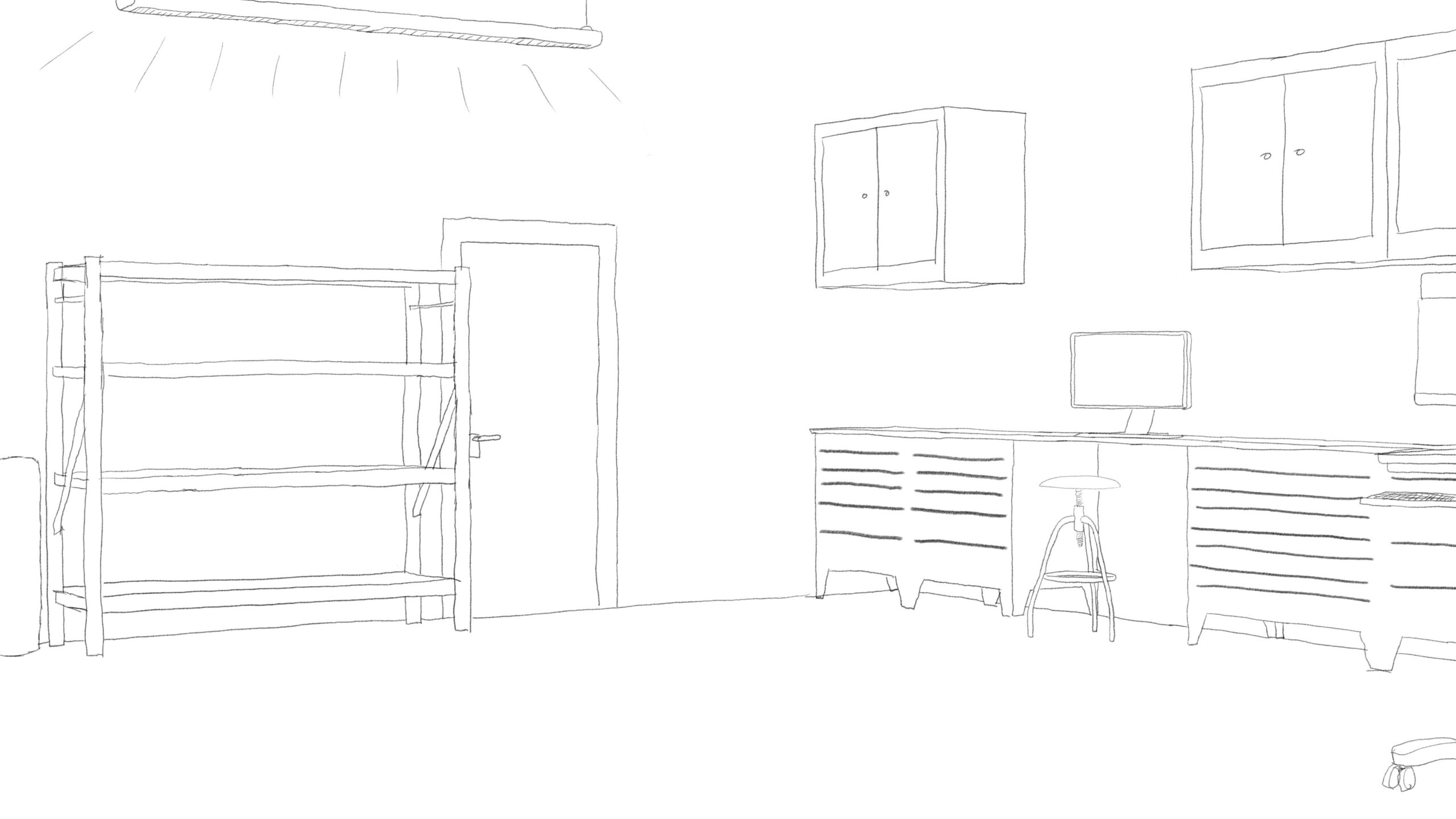Pitney Bowes-RumbleOn concept art - main-view drawing of empty garage