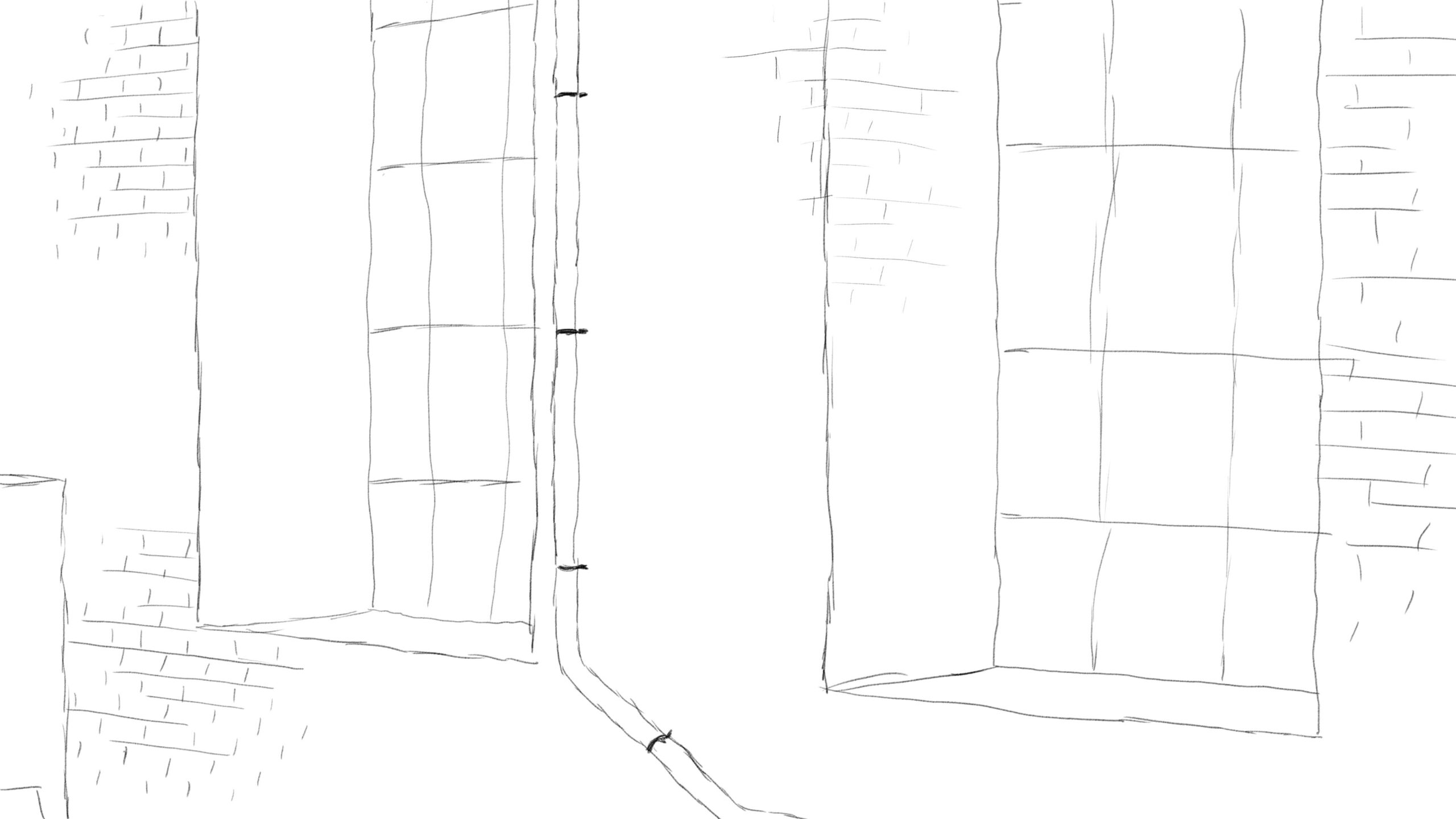 Pitney Bowes-RumbleOn concept art - main, close-up drawing of garage window