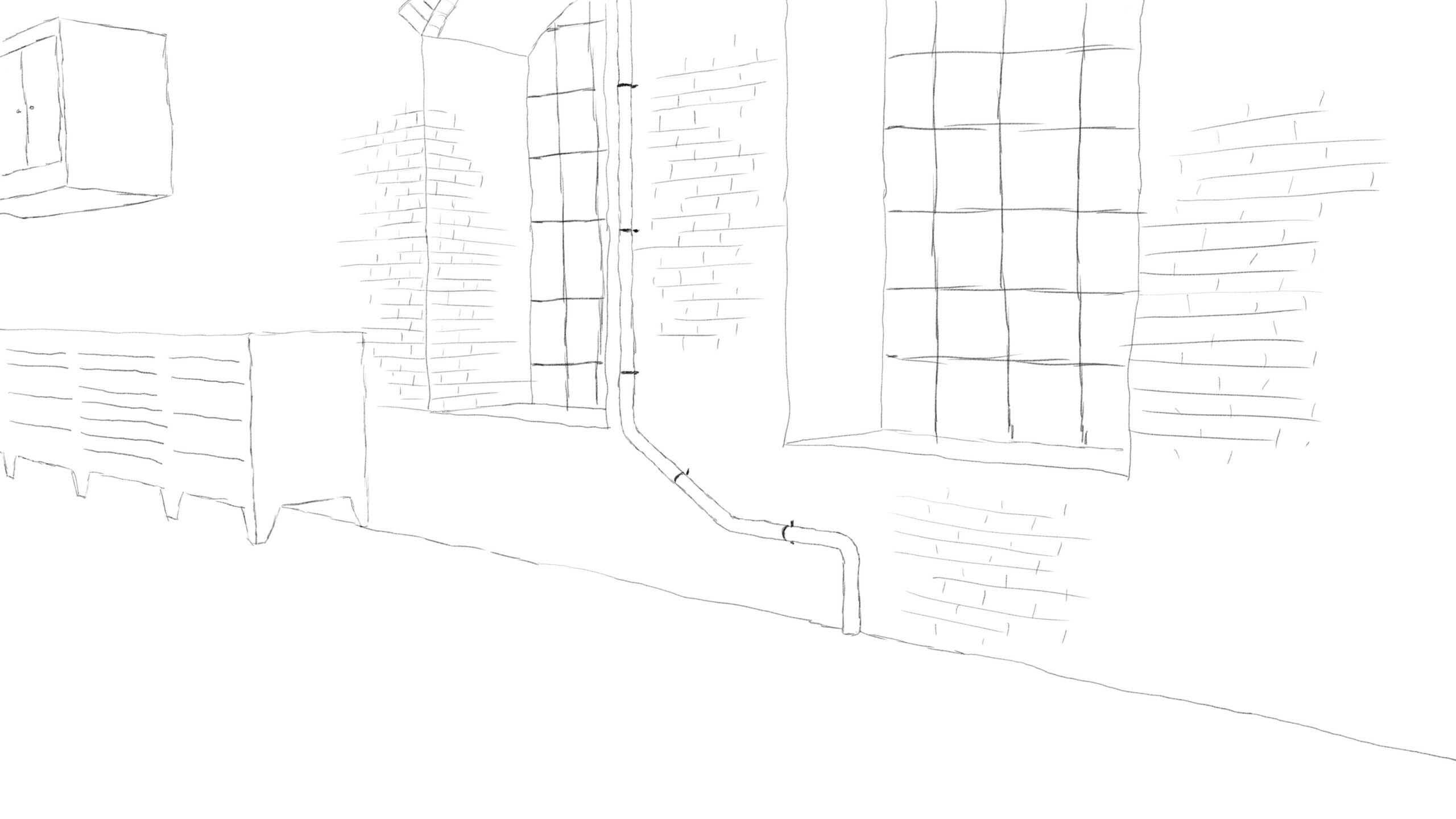 Pitney Bowes-RumbleOn concept art - wide-view drawing of garage window