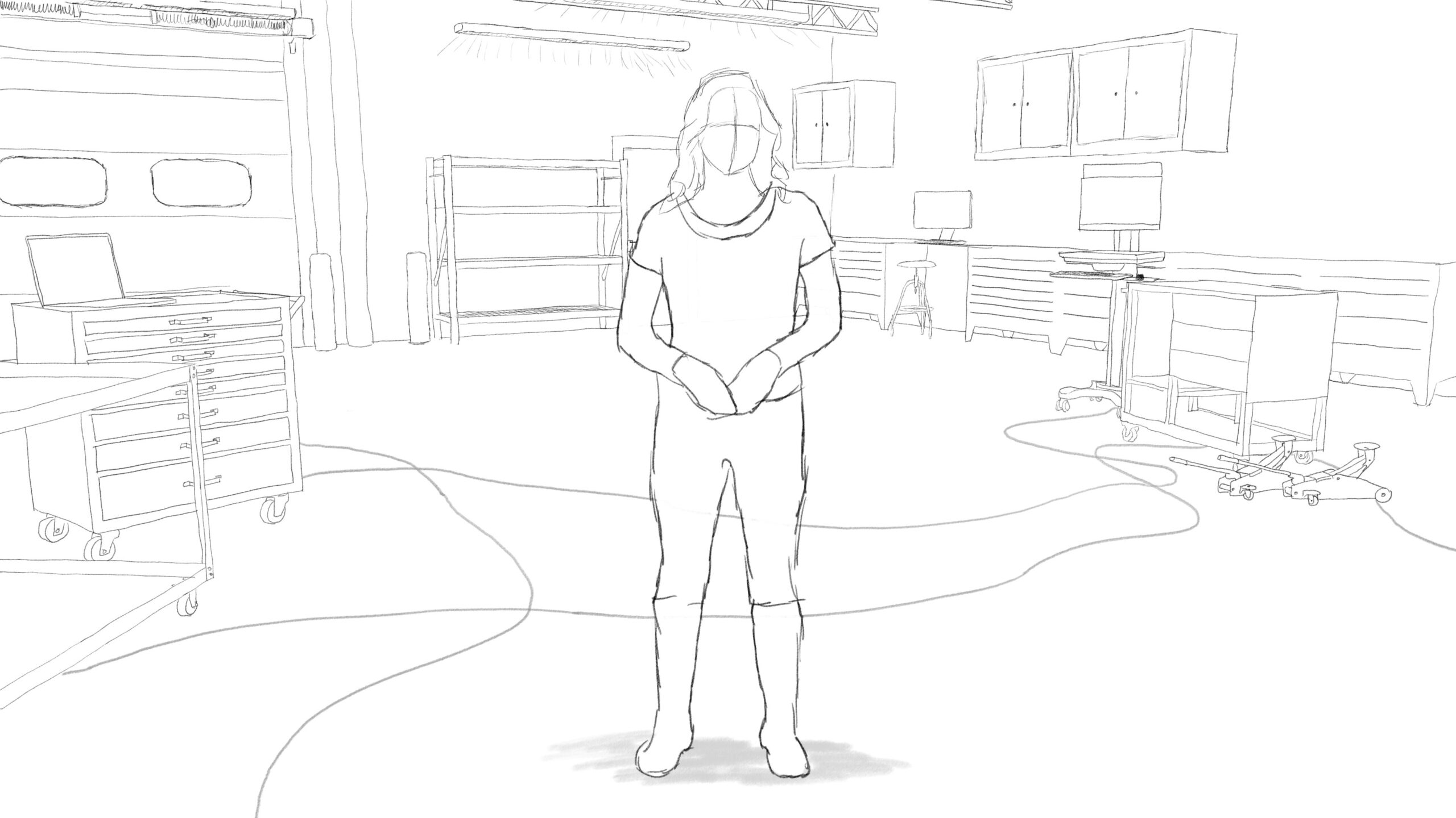 Pitney Bowes RumbleOn concept art - main, wide-view drawing of a person standing in a garage