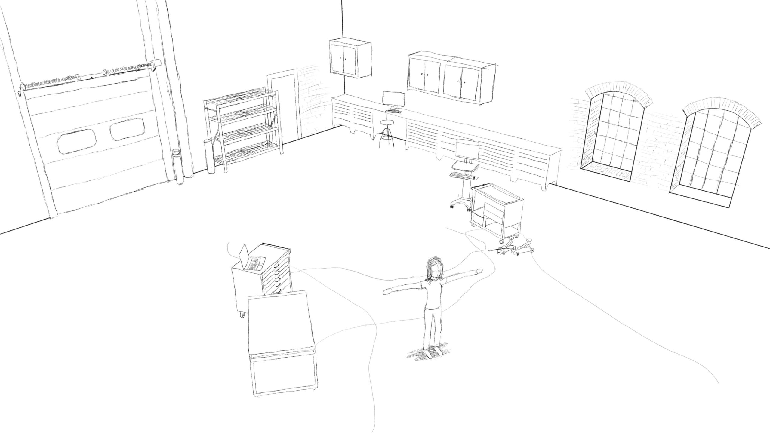 Pitney Bowes-RumbleOn concept art - wide, overhead drawing of a garage with a person standing in it