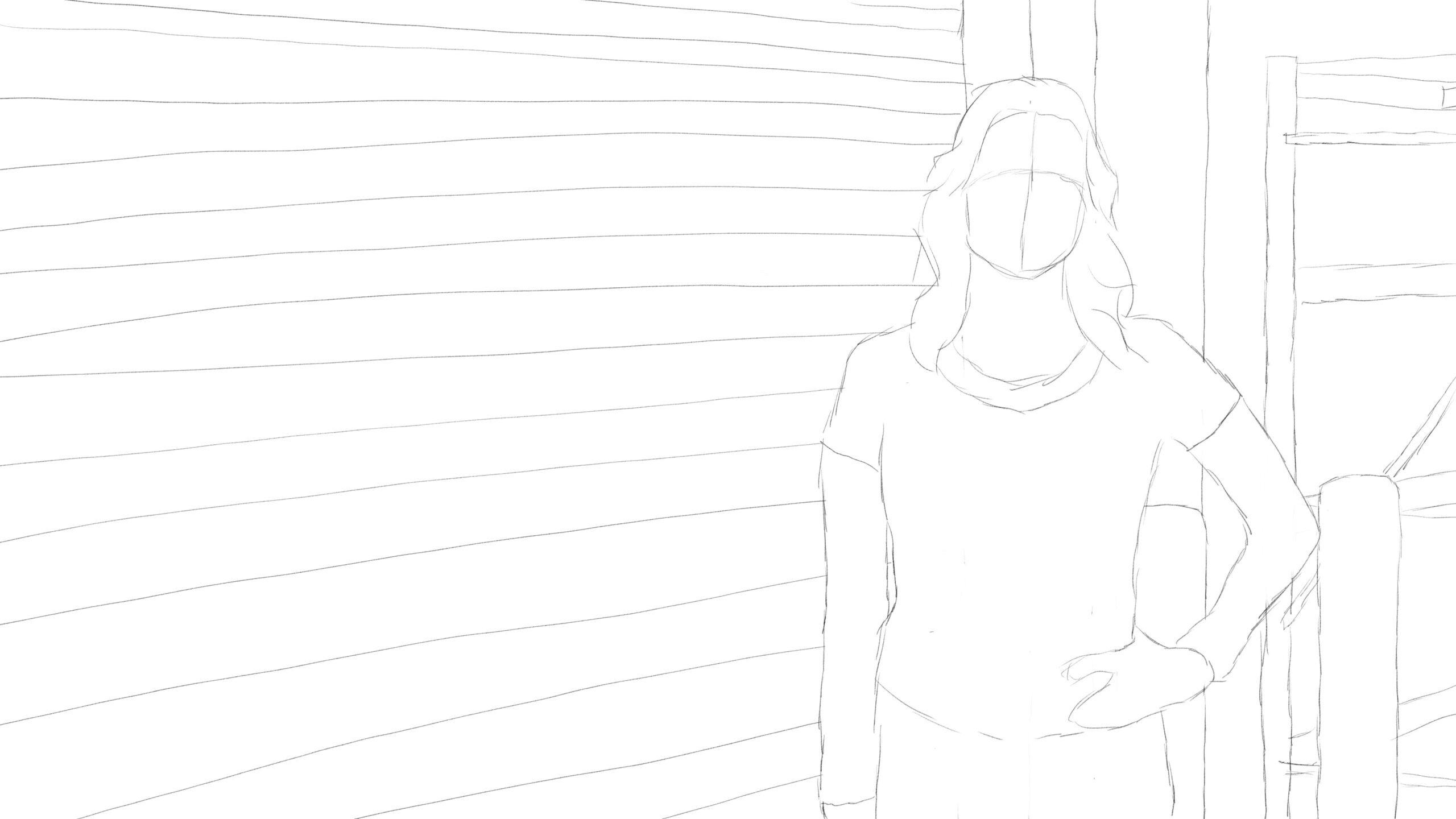 Pitney Bowes-RumbleOn concept art - close-up drawing of a person in front of garage door
