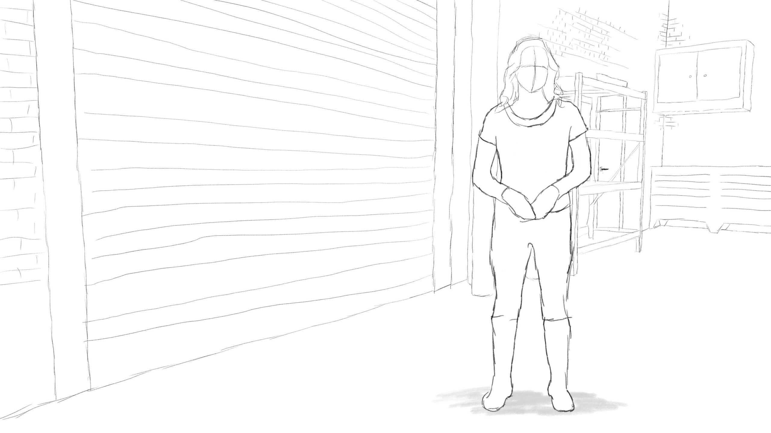 Pitney Bowes-RumbleOn concept art - wide-view drawing of garage door with person in front
