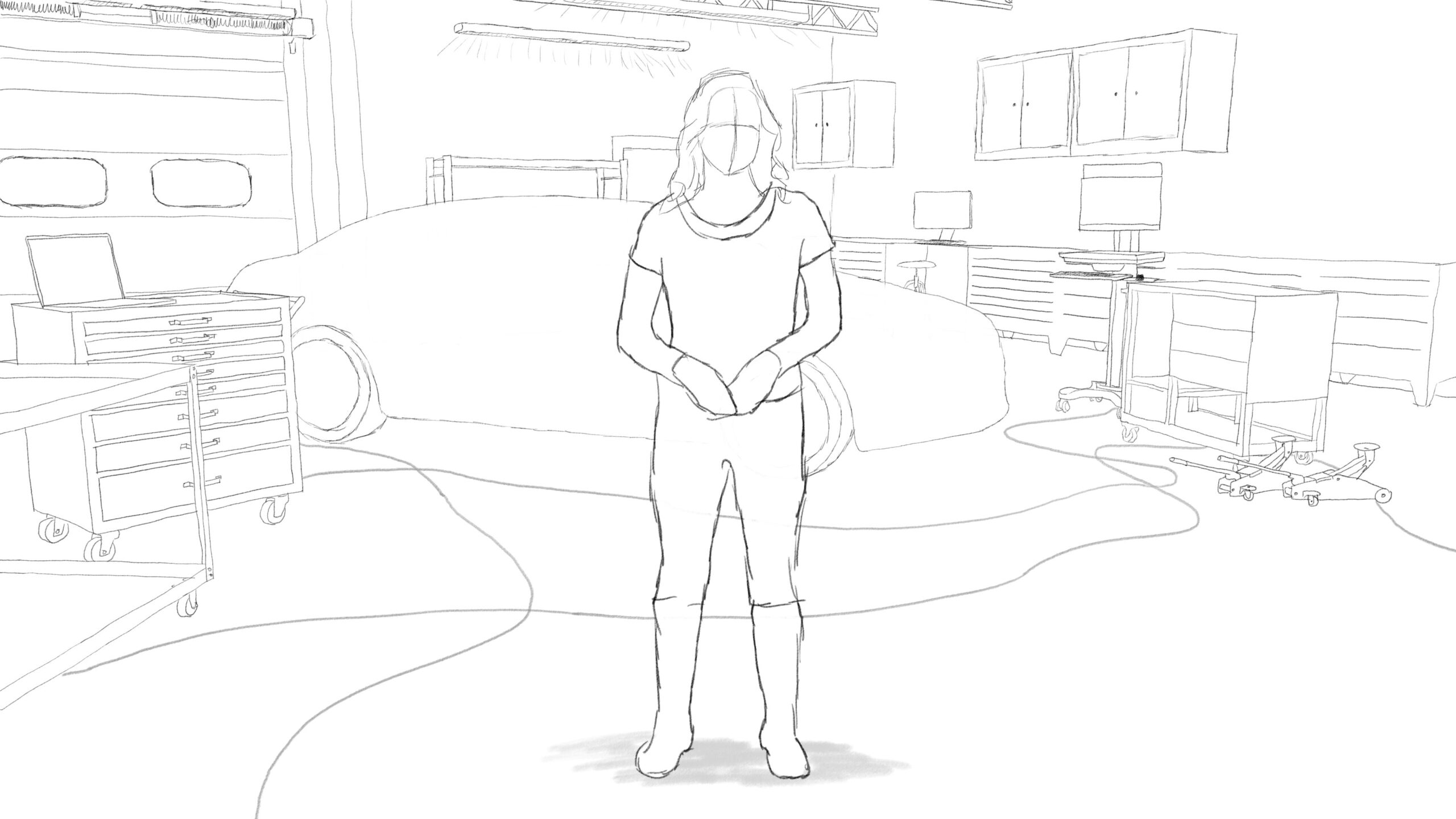 Pitney Bowes-RumbleOn concept art - main, wide-view drawing of a garage with a person standing in front of a car