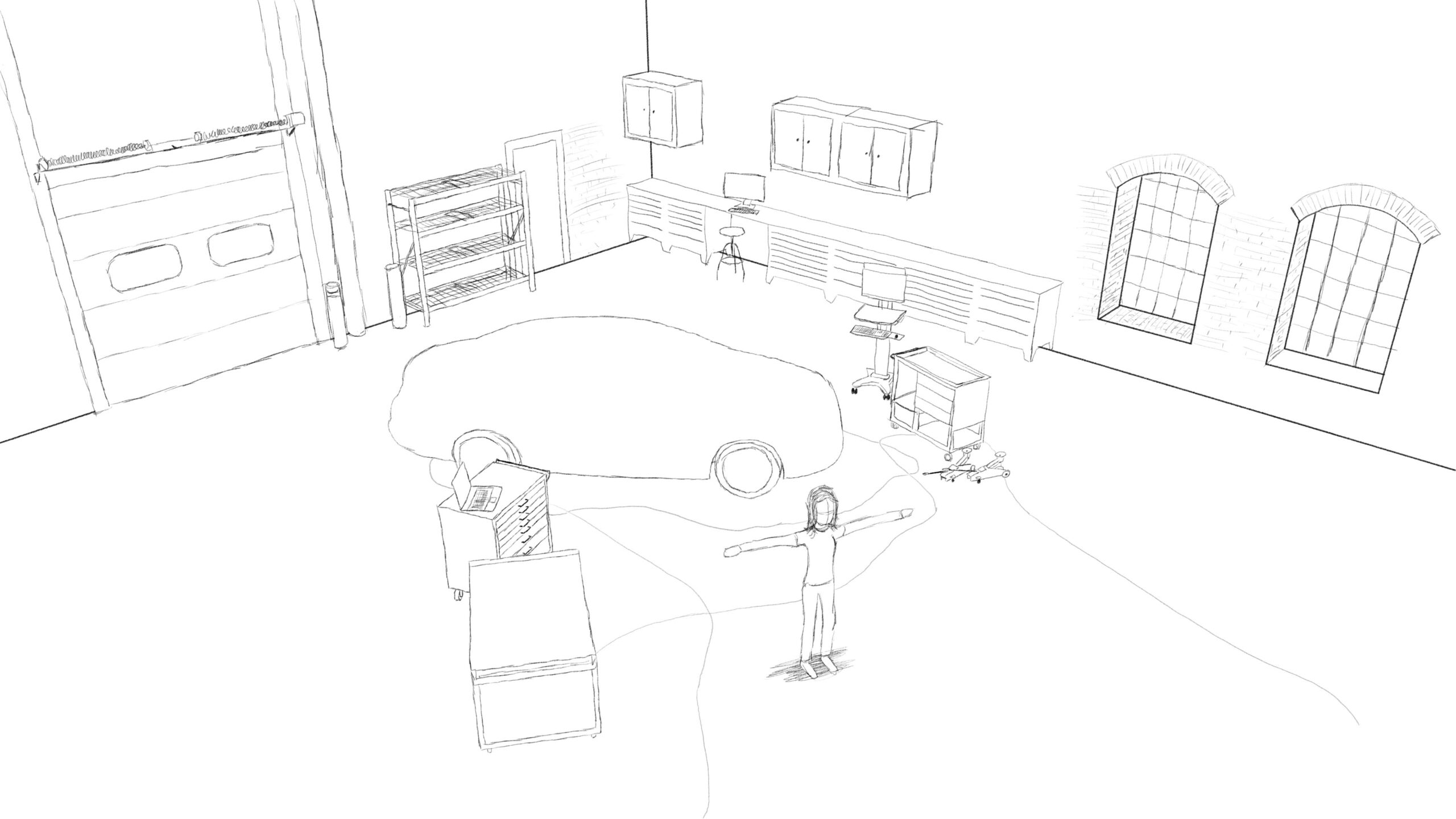 Pitney Bowes-RumbleOn concept art - wide overhead drawing of a garage with a person in standing in front of a car