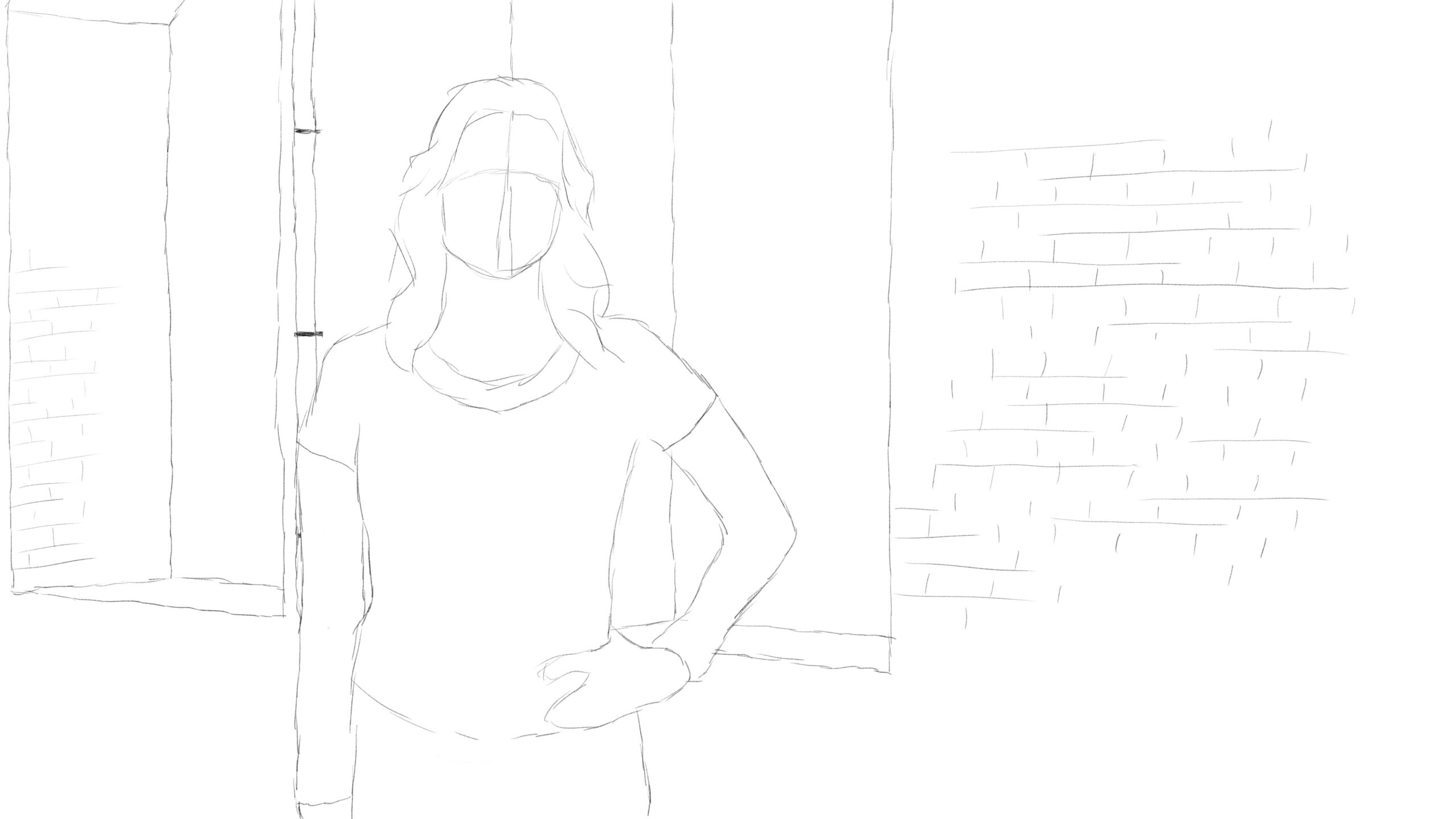 Pitney Bowes-RumbleOn concept art - offset-view drawing of a garage window with a person standing in front of it