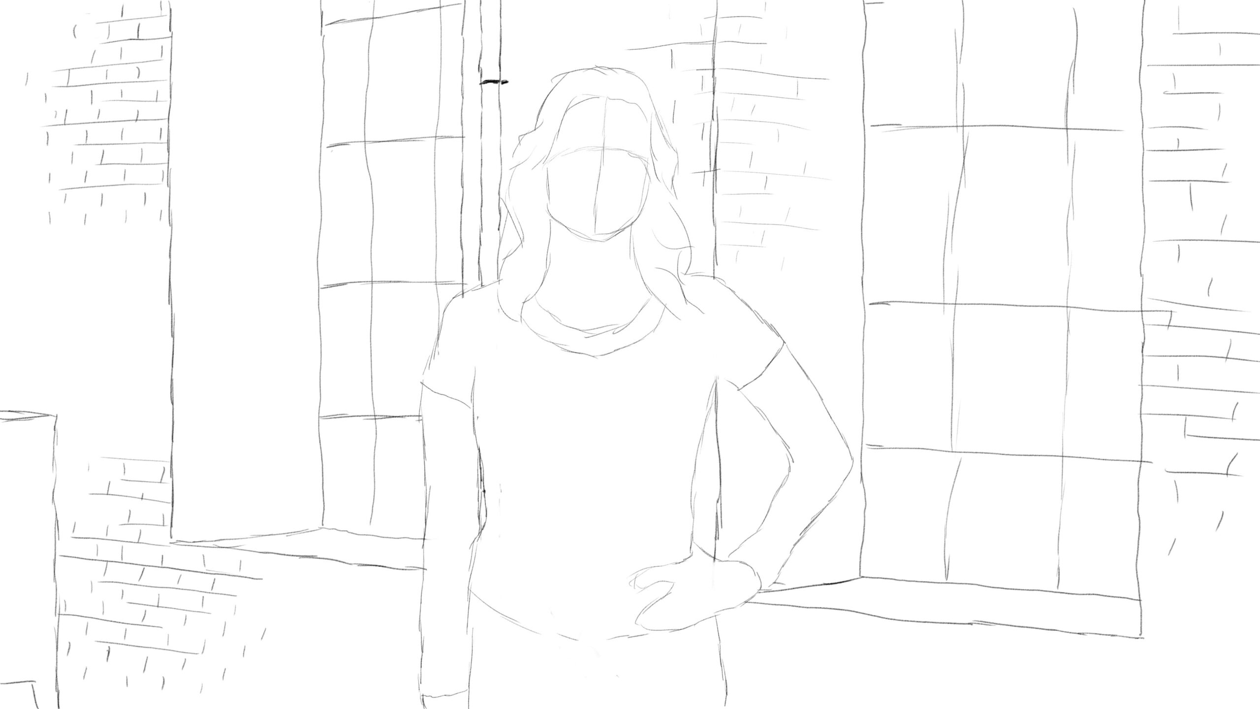 Pitney Bowes-RumbleOn concept art - center-view drawing of person in front of a garage window