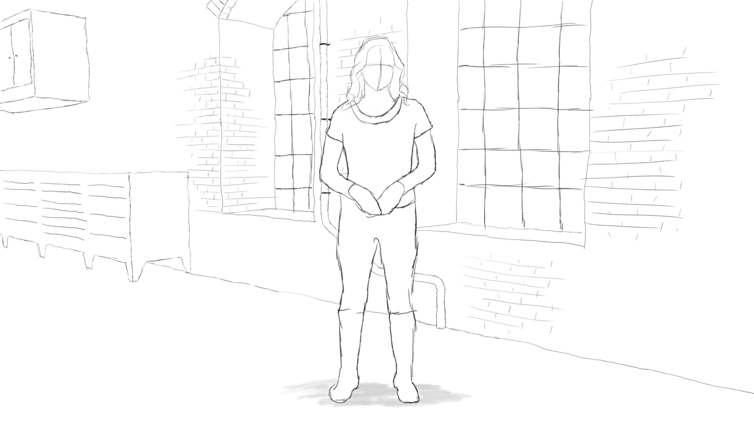 Pitney Bowes-RumbleOn concept art - wide-view drawing of a person standing in front of a garage window