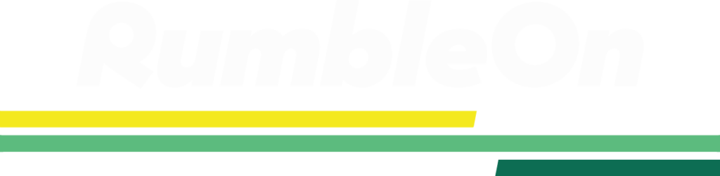 RumbleOn logo with white text on a transparent background